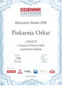 Mistrzowie Smaku 2018 - I miejsce w kategorii Piekarnia Roku województwa śląskiego